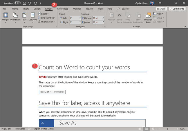 Microsoft Word - Go to the Layout tab