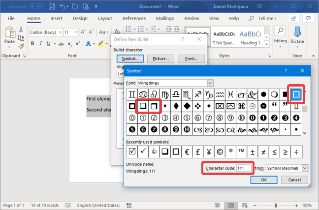 Select the character used as bullet list symbol in Microsoft Word