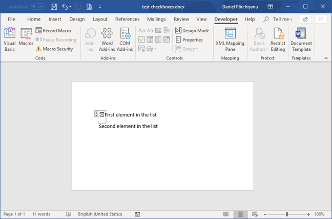 Checked box item in Microsoft Word