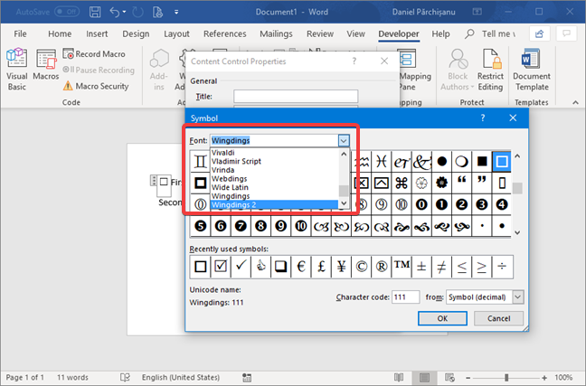 Select the font for the checked or unchecked symbol