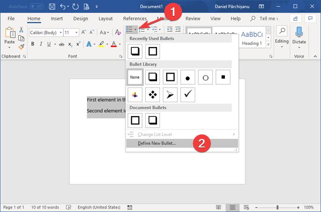 Bullet list menu in Microsoft Word