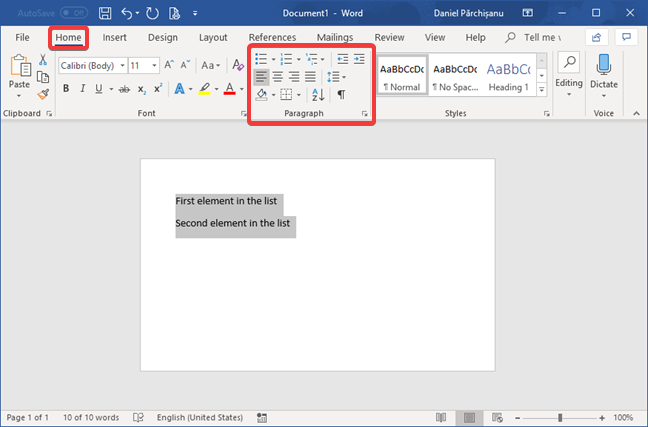 The Paragraph section in the Home tab, in Microsoft Word
