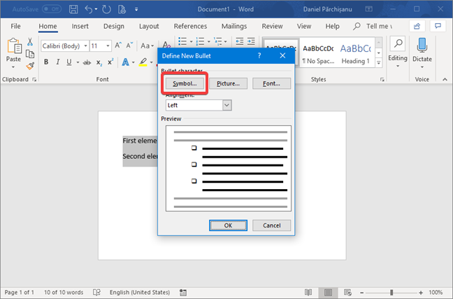 Define the New Bullet in Microsoft Word