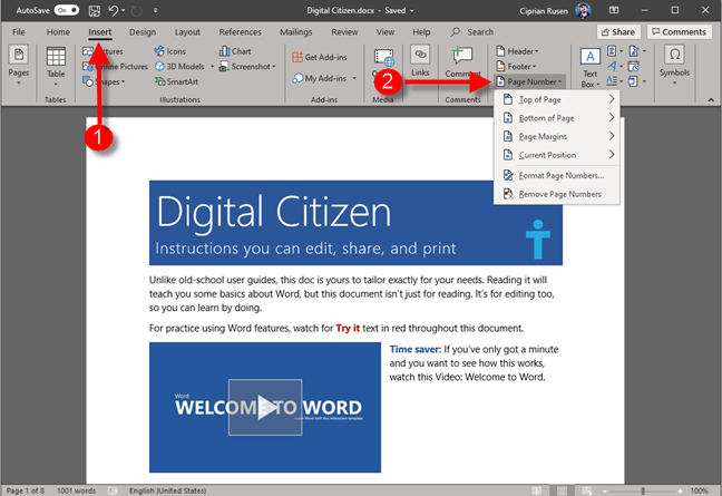 Microsoft Word - add page number