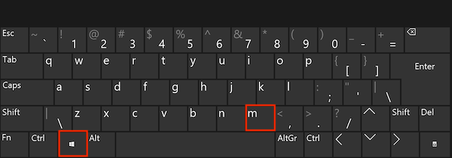 Press the Windows and M keys simultaneously to minimize all windows