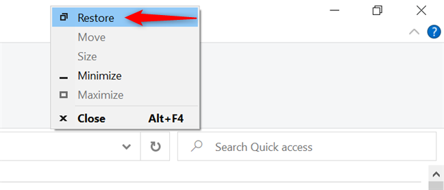 Restore an app's window from the title bar