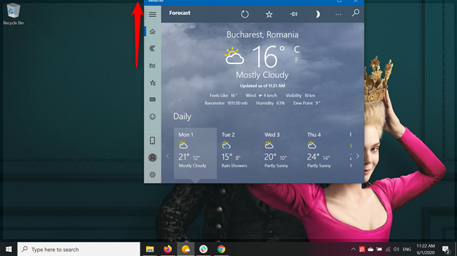 Drag the window's title bar to the top of the screen to maximize it