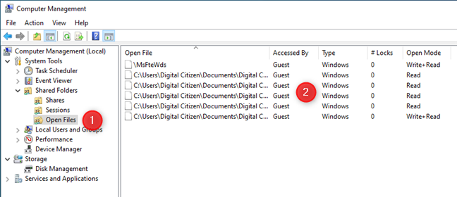 La lista de archivos abiertos disponible en Administración de equipos