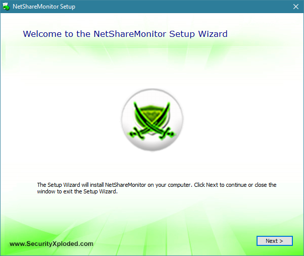The installation wizard of NetShareMonitor