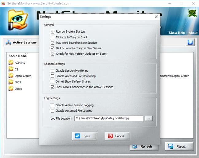 Configuración de NetShareMonitor