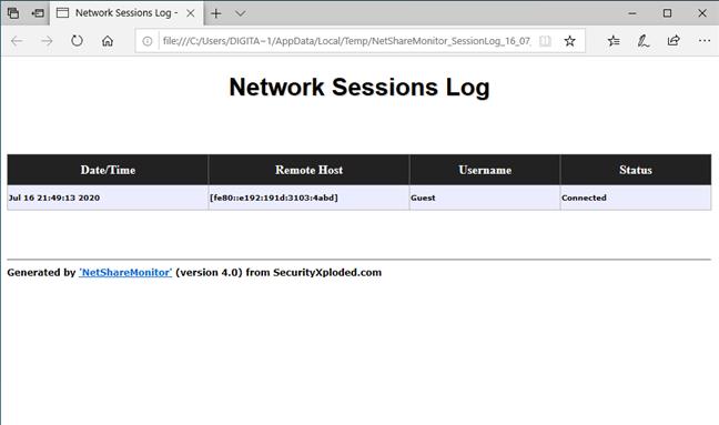 NetShareMonitor: Network sessions Log