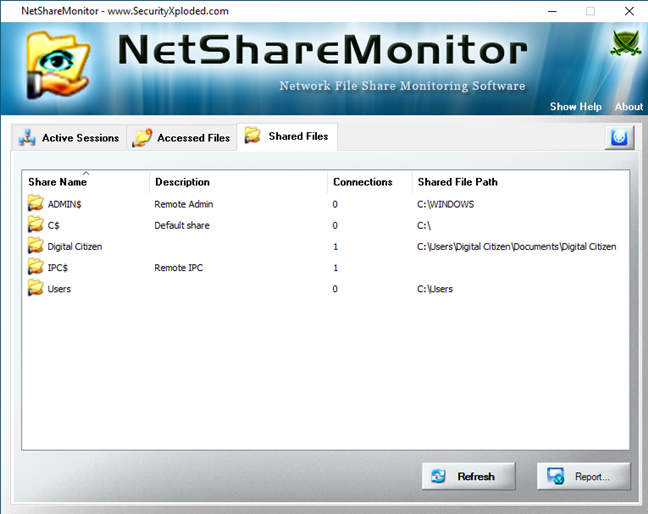 Lista de archivos compartidos mostrada por NetShareMonitor