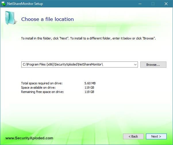 Elección de la ubicación de instalación de NetShareMonitor