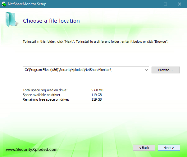 Choosing the installation location for NetShareMonitor