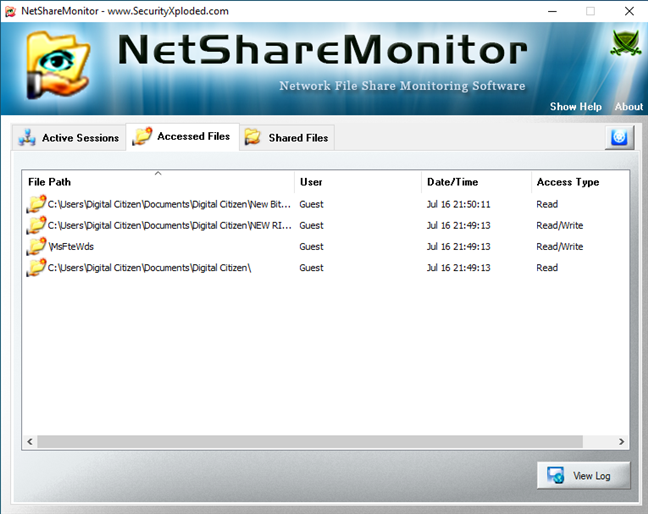 Accessed Files list in NetShareMonitor