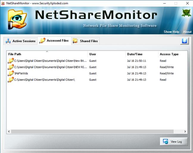 Lista de archivos accedidos en NetShareMonitor