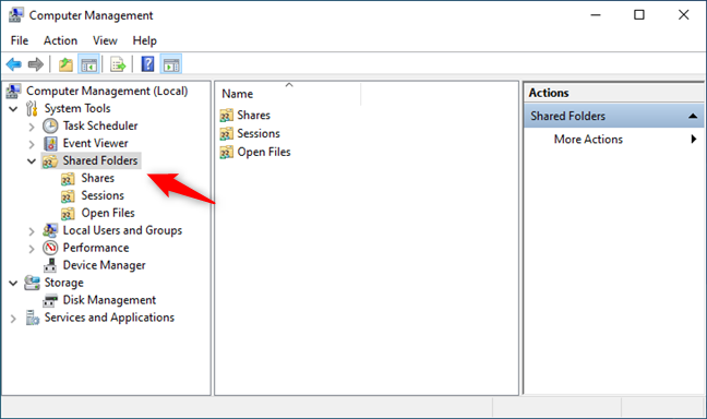 The Shared Folders entry from the Computer Management