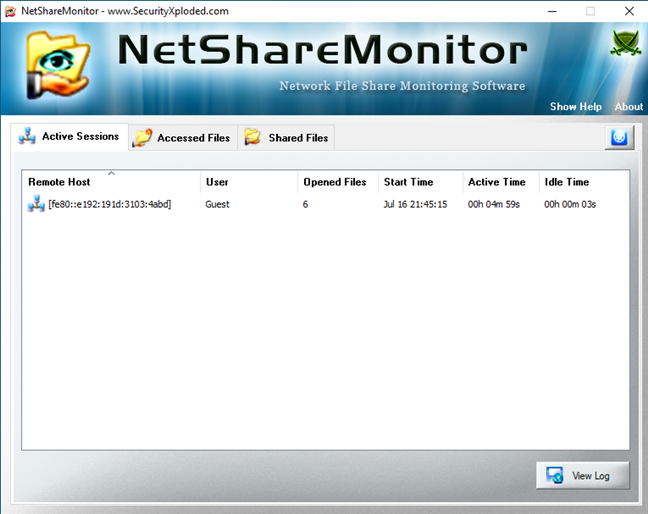 Active Sessions list in NetShareMonitor