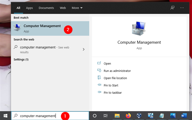 Opening Computer Management in Windows 10