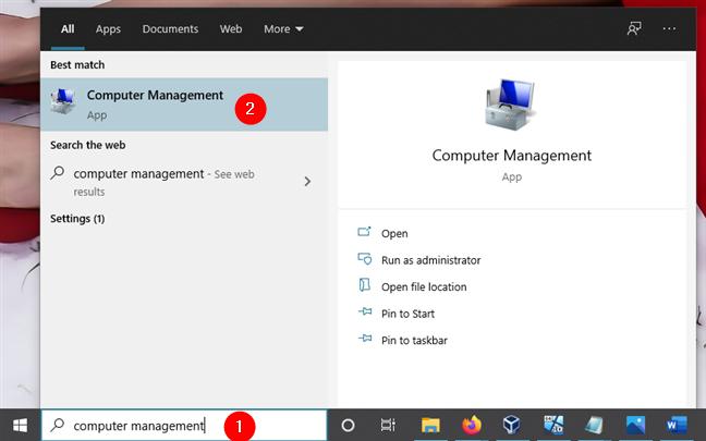 Abrir Administración de equipos en Windows 10