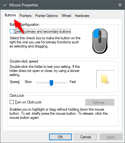 The Buttons tab from the Mouse Properties window