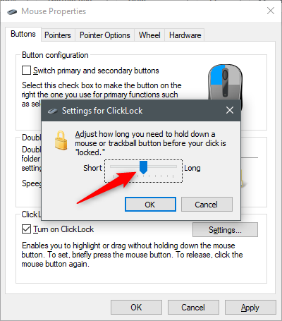 Adjusting the ClickLock settings