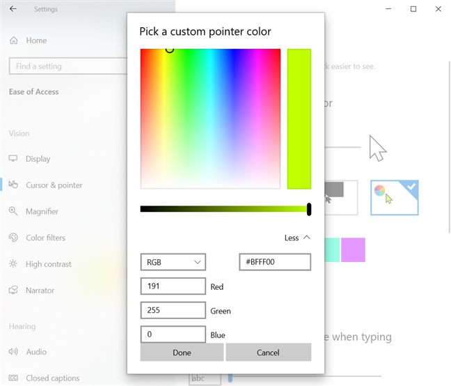 Enter the code for a custom mouse pointer color