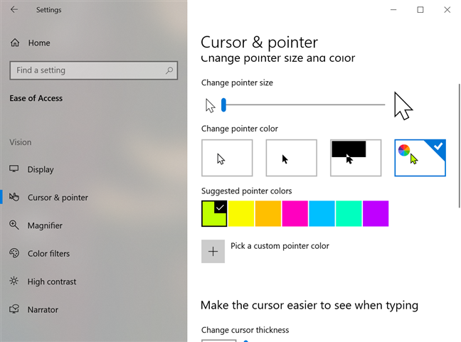 Choose one of the Suggested pointer colors for a fun cursor