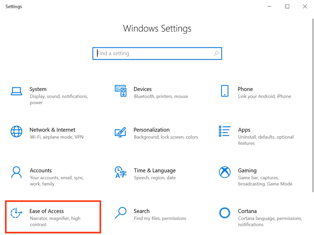 Access Ease of Access from Windows Settings
