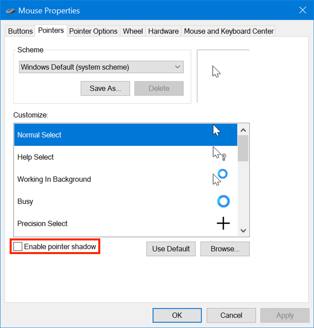 Enable a shadow under your cursor