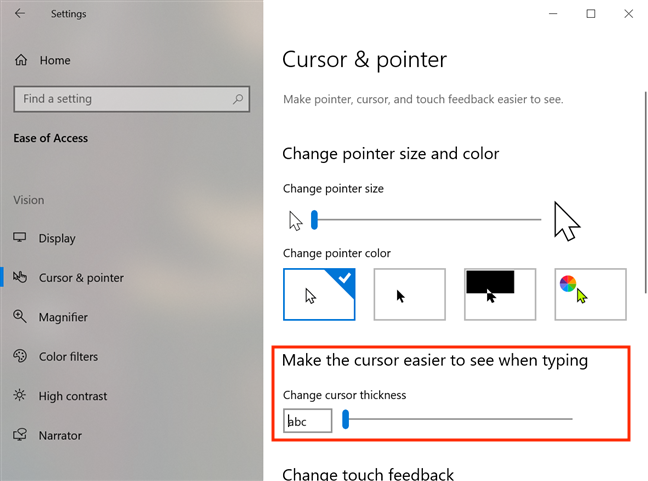 Move the slider to adjust the cursor's thickness