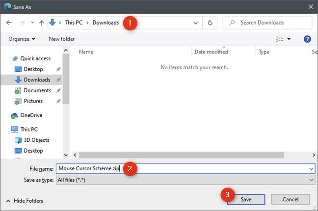 Descargar y guardar cursores de mouse personalizados