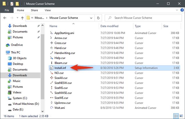 El archivo install.inf le permite instalar los nuevos cursores rápidamente