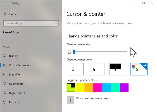 Change pointer size and color for better visibility