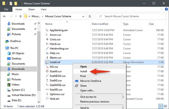 La opción de instalación de los cursores del mouse se encuentra en el menú contextual