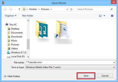 Windows, Movie Maker, save video, movie, project, export