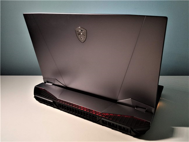A view of the MSI GT76 Titan DT 9SG from the back