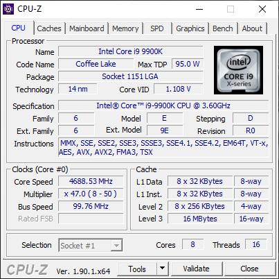 MSI GT76 Titan DT 9SG: Details about the processor
