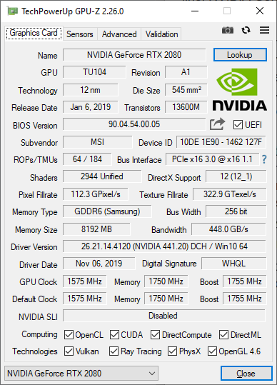 MSI GT76 Titan DT 9SG: Details about the Nvidia Geforce RTX 2080 graphics card
