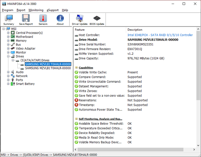 MSI GT76 Titan DT 9SG: Details about the two SSDs in RAID configuration