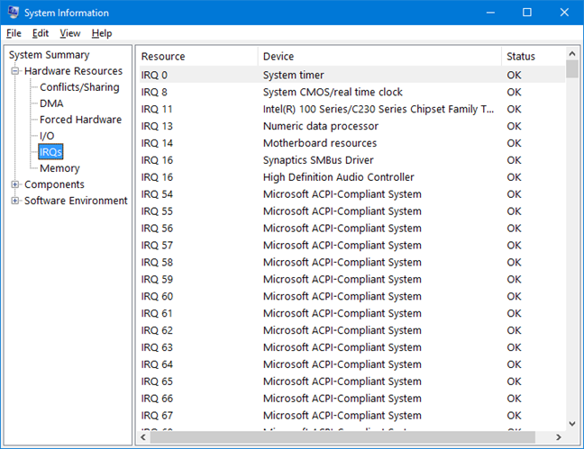 Interrupt Requests in System Information for Windows