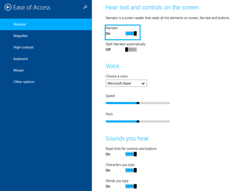 Windows 8.1, Narrator, PC Settings, touch devices
