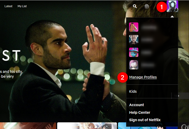 The Manage Profiles option from the Netflix menu