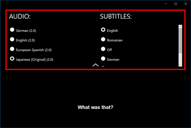 Selecting the audio and subtitles language in the Netflix app for Windows 10