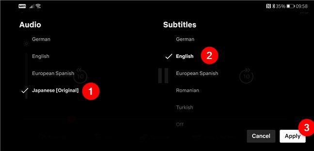 Selecting the Audio and Subtitles languages for a movie or show in Netflix for Android