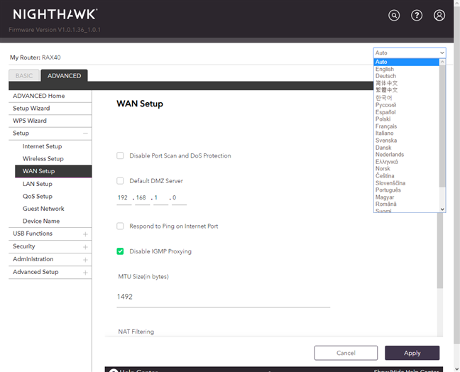 Switching the languages on the NETGEAR Nighthawk AX4
