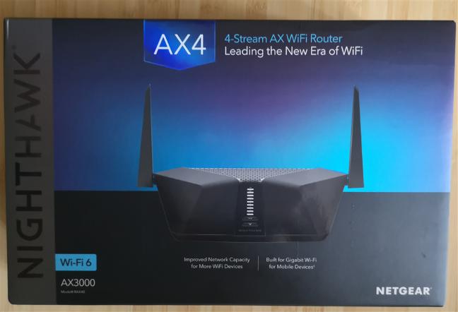The packaging of the NETGEAR Nighthawk AX4