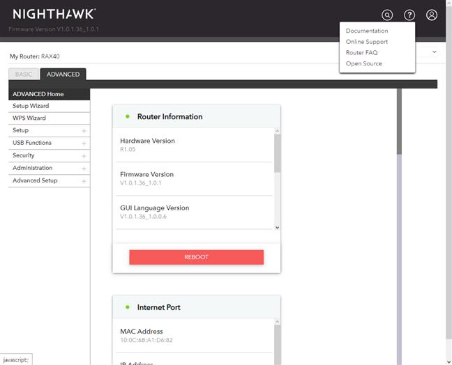 NETGEAR Nighthawk AX4 - support options