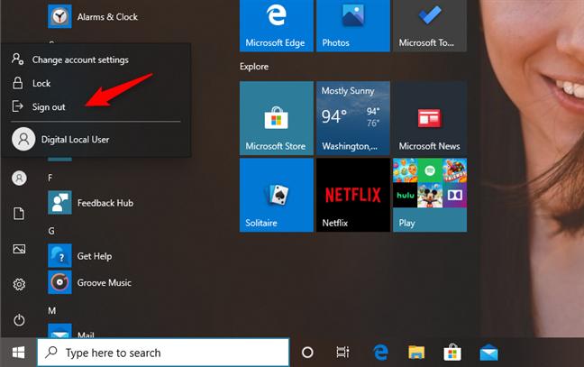 Cerrar sesión o cambiar de cuenta de usuario en Windows 10