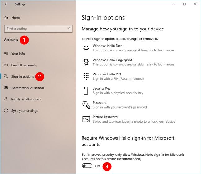 Deshabilitar Requerir inicio de sesión de Windows Hello para cuentas de Microsoft